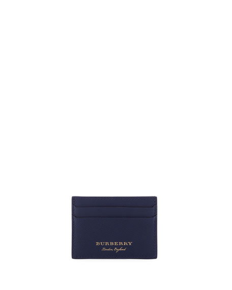 Burberry Sandon Leather Card Case, Blue
