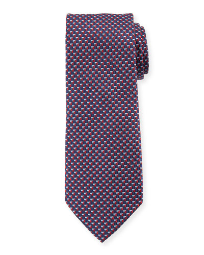 V'd Box Silk Tie, Red