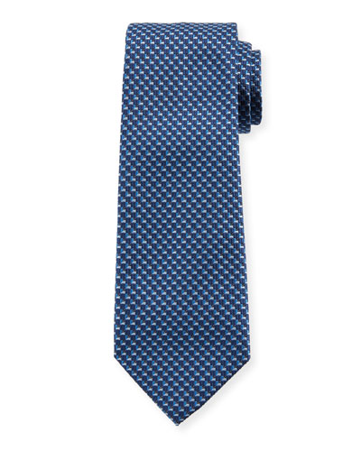 V'd Box Silk Tie, Blue