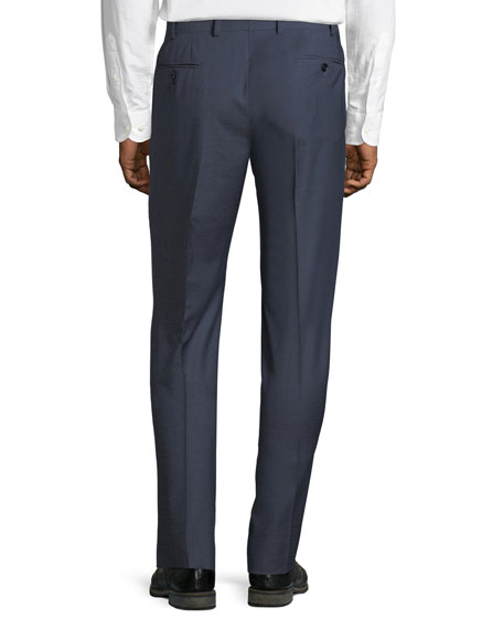 Micro-Check Straight-Leg Trousers