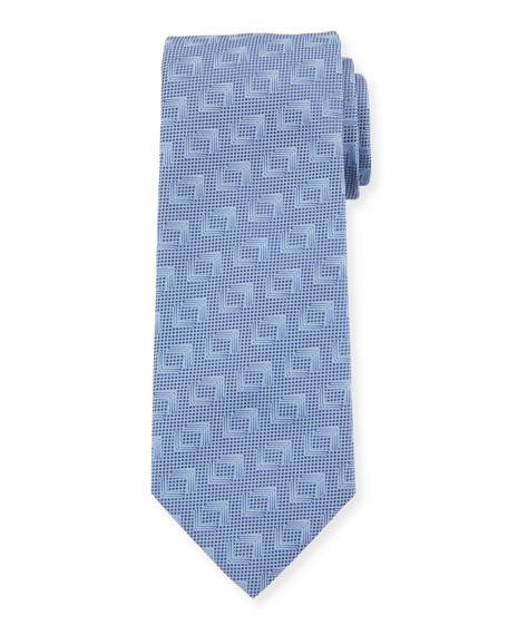 Solid Geometric Silk Tie, Blue