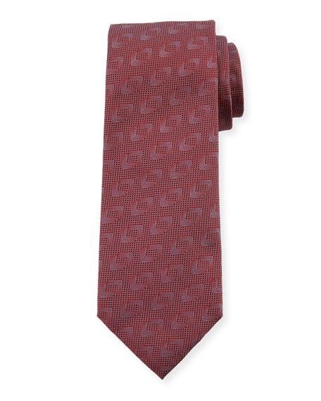 Solid Geometric Silk Tie, Fire
