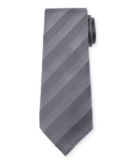 Degraded Stripe Silk Tie, Dark Gray
