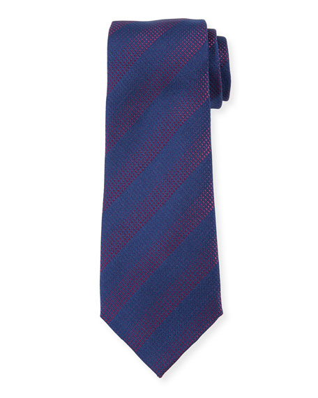 Gradient Stripe Silk Tie, Navy