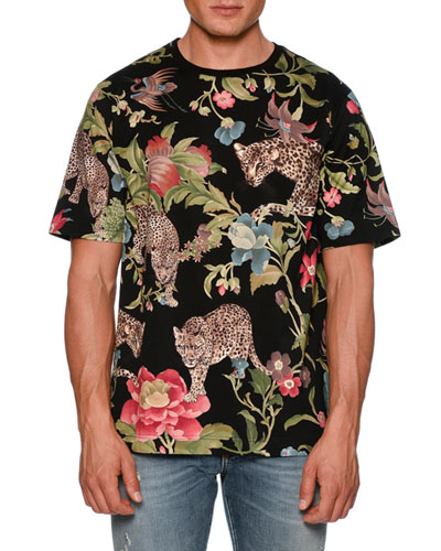 Floral Leopard-Print T-Shirt