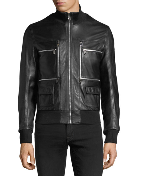 Leather Bomber Jacket with Zipper Pockets