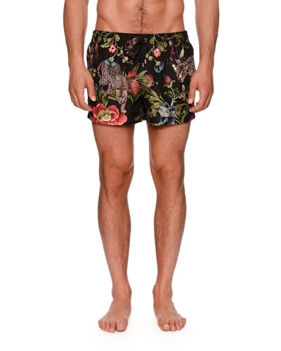 Leopard Floral-Print Swim Trunks