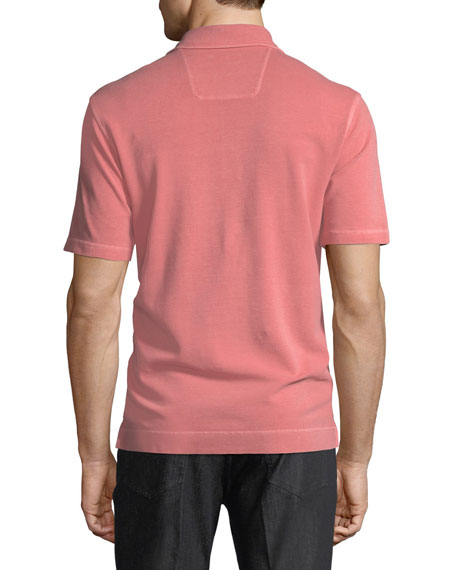 Piqué-Knit Polo Shirt, Red