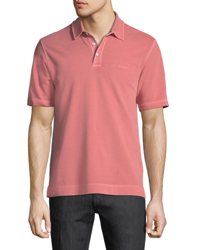 Piqué-Knit Polo Shirt, Red