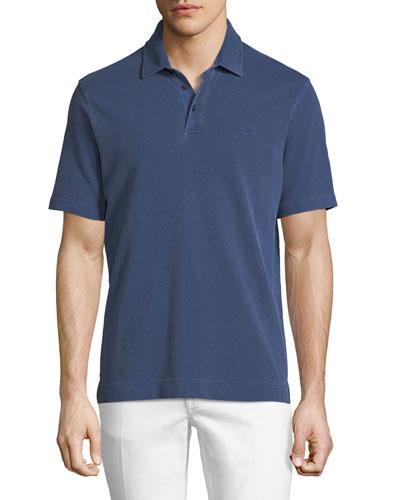 Piqué-Knit Polo Shirt, Medium Blue