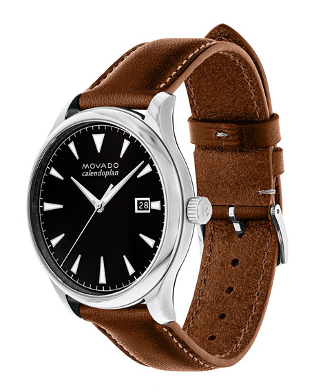 40mm Heritage Calendoplan Watch with Leather Strap