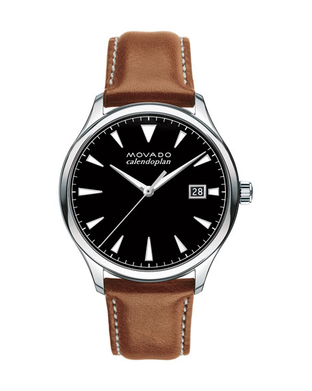 Movado 40mm Heritage Calendoplan Watch with Leather Strap