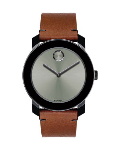 42mm Bold Watch with Leather Strap