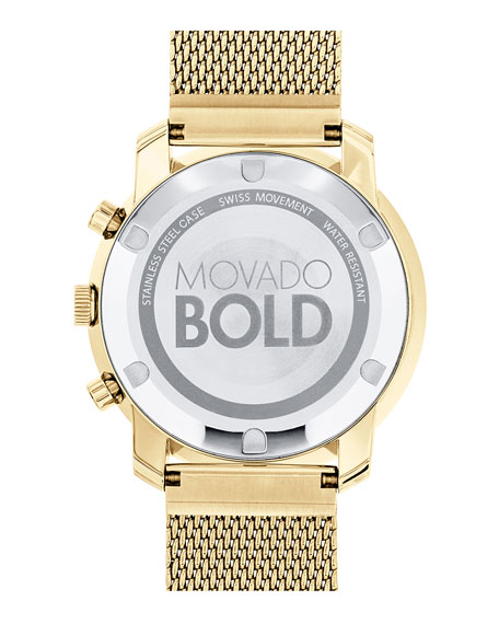 44mm Gold-Plated Chronograph Watch