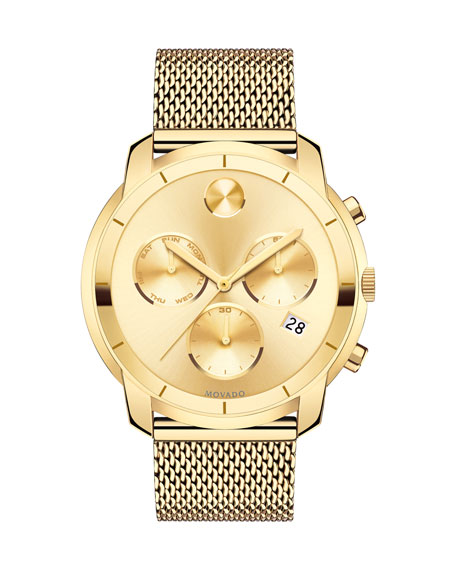 Movado Bold 44mm Gold-Plated Chronograph Watch