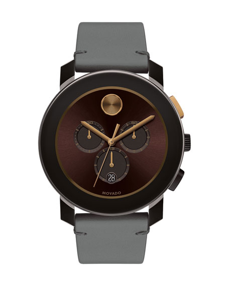 Movado Bold 43.5mm Bold Watch with Leather Strap