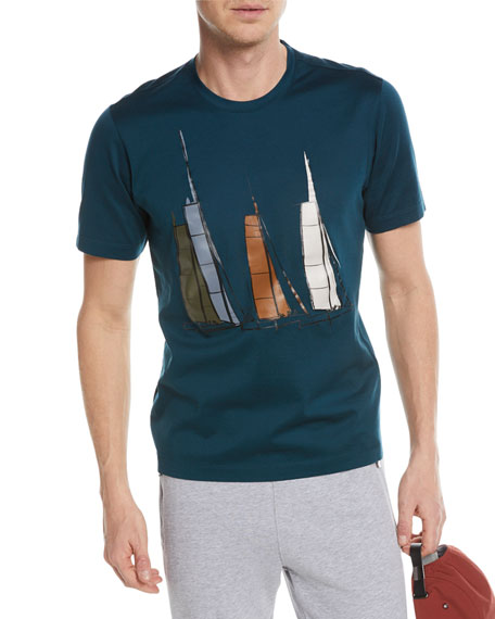 Boat Graphic Cotton T-Shirt, Green
