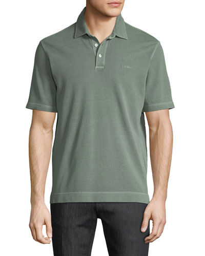 Piqué-Knit Polo Shirt, Green