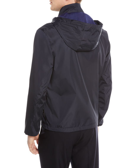 Zip-Front Jacket with Packaway Hood