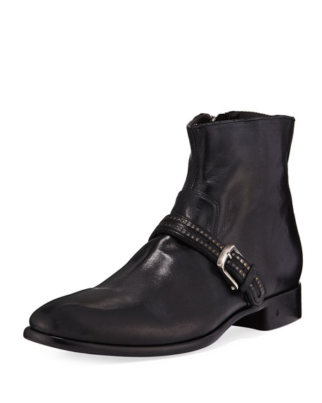 John Varvatos Eldridge Buckled-Vamp Leather Boot