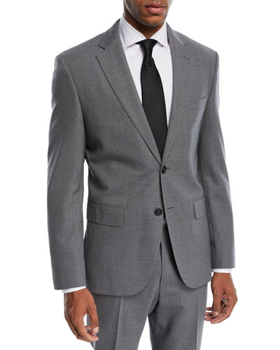 Jets Lenon Solid Wool Two-Piece Travel Suit, Medium Gray