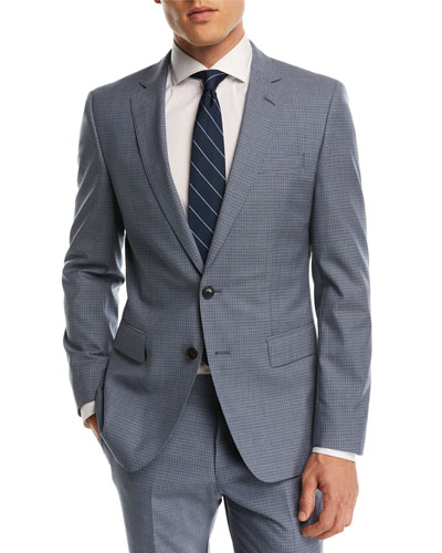 Small Windowpane Two-Piece Wool Suit, Blue