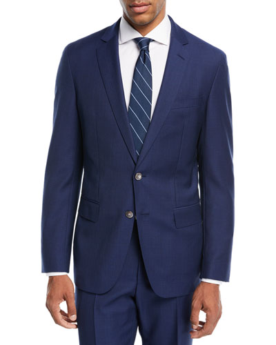 Helford Gander Broken Plaid Two-Piece Wool Suit, Blue