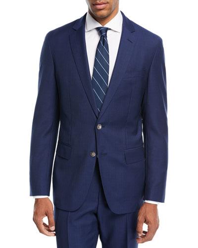 Broken Plaid Two-Piece Wool Suit, Blue