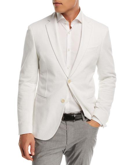 BOSS Waffle Jersey Soft Jacket, White