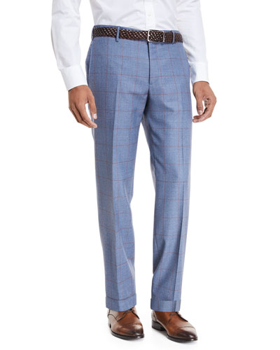 Windowpane Wool Straight-Leg Trousers