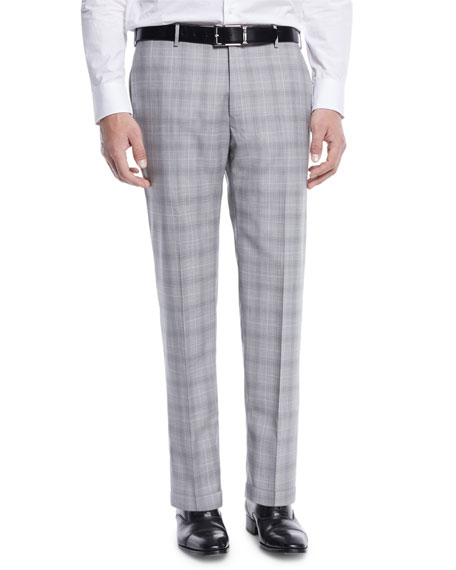 Men's Glen Plaid Flat-Front Trousers