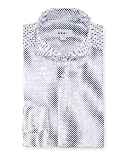 Slim Dot-Print Cotton Dress Shirt