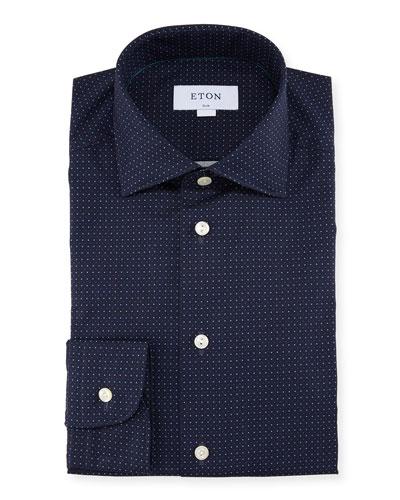 Slim Fit Micro-Dot Cotton Dress Shirt