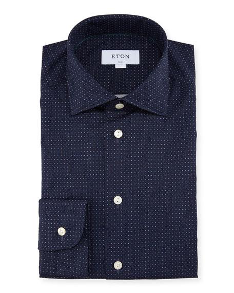 Eton Slim Fit Micro-Dot Cotton Dress Shirt
