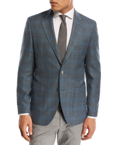 Janson Plaid Wool Sport Coat, Teal/Taupe