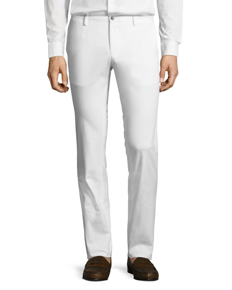 Solid Stretch-Cotton Pants