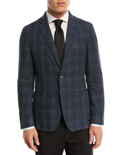 Dyed Plaid Cotton-Linen Sport Coat