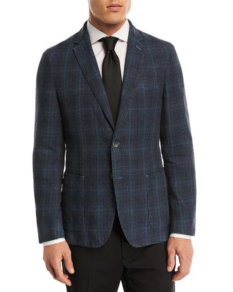Dyed Plaid Cotton-Linen Sport Coat