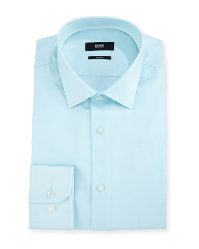 Slim Fit Easy Iron End-on-End Grid-Pattern Dress Shirt