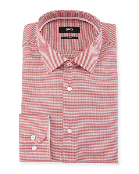 Slim Fit Textured Cotton Dress Shirt