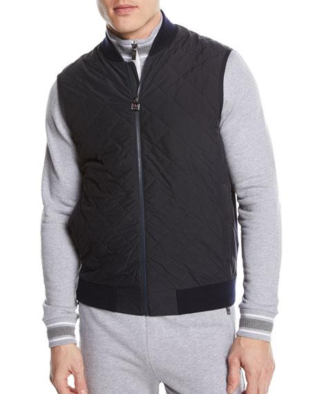 Quilted Zip-Front Hybrid Vest