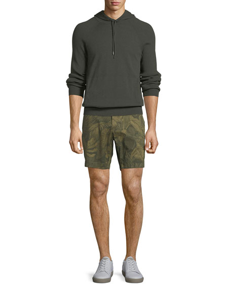 Tropical Print Cotton-Stretch Shorts