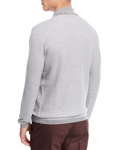 Wool-Blend Polo Sweater