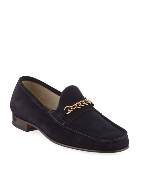 Suede Curb-Chain Loafer
