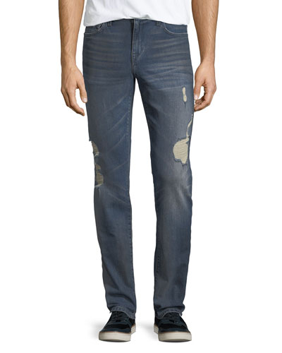 Men's Slim-Fit Distressed Jeans, Burns (Dirty Vintage Medium Indigo)