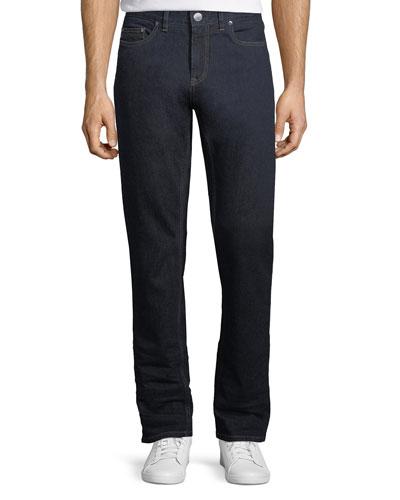 Stretch-Denim Straight-Leg Luxury Jeans
