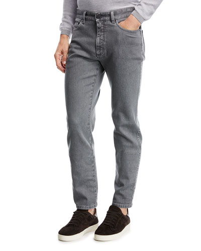 Straight-Leg Stretch-Denim Jeans, Light Gray