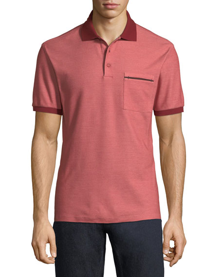 Contrast-Trim Pique Polo Shirt, Red