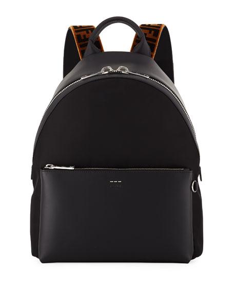 Fendi Men's Signature Zucca-Stripe Backpack