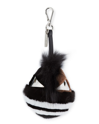 Striped Fur Monster Charm for Men's Bag, Black